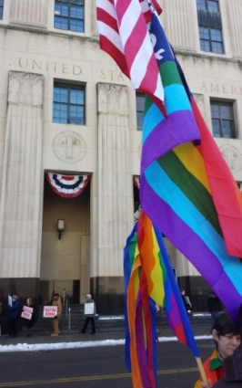Supporters and opponents of gay marriage protested outside the courthouse.