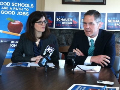 Gubernatorial candidate Mark Schauer and running mate Lisa Brown